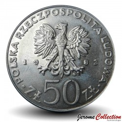 POLOGNE - PIECE de 50 Zlotych - Les rois de Pologne: Boleslas III Bouche-Torse - 1982