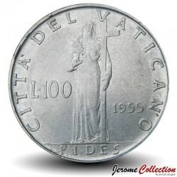 VATICAN - PIECE de 100 Lires - Fides (La foi) - 1955 Km#55