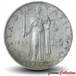 VATICAN - PIECE de 5 Lires - La justice - 1953 Km#51