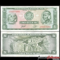 PEROU - Billet de 5 Soles de Oro - Inca Pachacútec - 1973 P99c