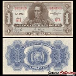 BOLIVIE - Billet de 1 Boliviano - Simón Bolívar - 1928 P128a8