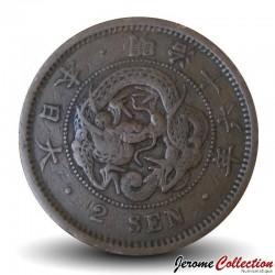 JAPON - PIECE de 2 sen - Empereur Meiji - Dragon - 1883 Y#18