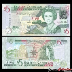 CARAIBES ORIENTALES - Billet de 5 DOLLARS - 2008