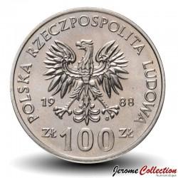 POLOGNE - PIECE de 100 Zlotych - Hedwige Ire de Pologne - 1988