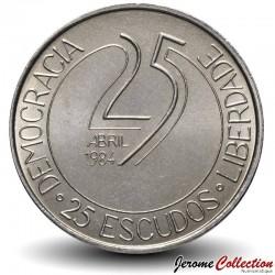 PORTUGAL - PIECE de 25 Escudos - Révolution des Œillets - 1984 Km#623