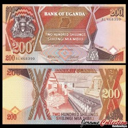 OUGANDA - Billet de 200 Shillings - Filature de coton - 1987 P32a