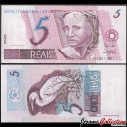 BRESIL - Billet de 5 Reais - Grande aigrette - 1997 P244Ad