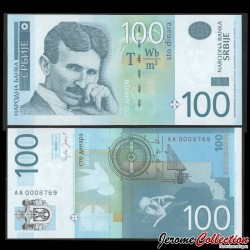 SERBIE - Billet de 100 Dinara - Nikola Tesla - 2006 P49a