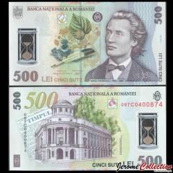 ROUMANIE - Billet de 500 Lei - Mihai Eminescu - Polymer - 2009 P123b