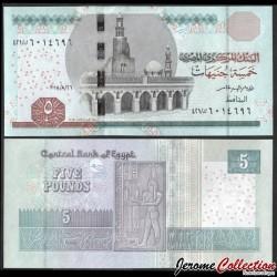 EGYPTE - Billet de 5 Pounds - Horus, Dieu du Nil - 26.8.2018 P72h4