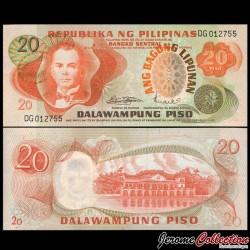 PHILIPPINES - Billet de 20 Piso - Manuel Quezon - 1970 P155a