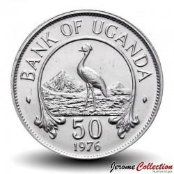 OUGANDA - PIECE de 50 Shillings - Grue couronnée grise - 1976 Km#4a
