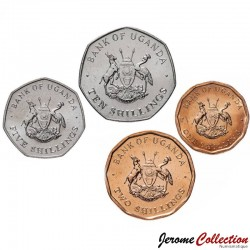 OUGANDA - SET / LOT de 4 PIECES - 1 2 5 10 Shillings - 1987