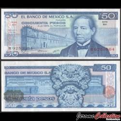 MEXIQUE - Billet de 50 Pesos - Benito Juárez - 18.07.1973 P65a