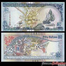 MALDIVES - Billet de 50 Rufiyaa - Marché du village, Malé - 2000 P21a