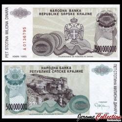 CROATIE / KRAJINA - BILLET de 500 000 000 Dinars - Forteresse de Knin - 1993 PR26a
