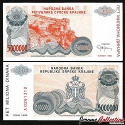 CROATIE / KRAJINA - BILLET de 5 000 000 Dinars - Forteresse de Knin - 1993 PR24a