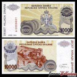 CROATIE / KRAJINA - BILLET de 10000 Dinars - Forteresse de Knin - 1994 PR31a