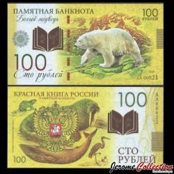 RUSSIE - Billet de 100 Roubles - Livre rouge de Russie - Ourse Polaire - Polymer - 2020 redbook_bear