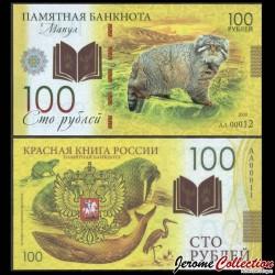 RUSSIE - Billet de 100 Roubles - Livre rouge de Russie - Manul / Chat de Pallas - Polymer - 2020 redbook_manul