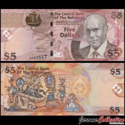 BAHAMAS - Billet de 5 Dollars - Sir Cecil Wallace-Whitfield - 2007 P72a