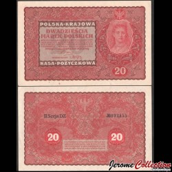 POLOGNE - Billet de 20 Marek - Reine Jadwiga / Hedwige Iʳᵉ de Pologne - 1919 P26b2