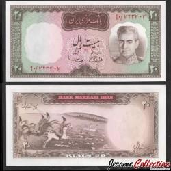 IRAN - Billet de 20 Rials - Shah Mohammad Reza Pahlavi - 1969 P84a