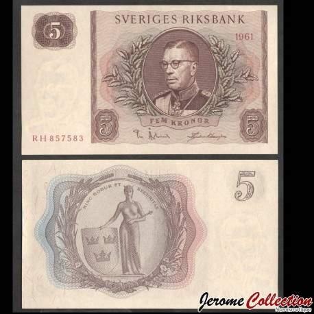 SUEDE - Billet de 5 Couronnes - Le roi Gustave VI Adolf - 1961 P42f