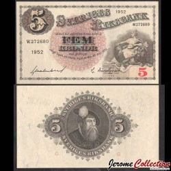 SUEDE - Billet de 5 Kronor - Svea / Roi Gustav Vasa - 1947