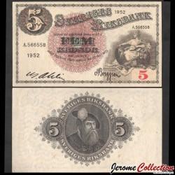 SUEDE - Billet de 5 Kronor - Svea / Roi Gustav Vasa - F - 1952 P33ai6
