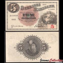 SUEDE - Billet de 5 Kronor - Svea / Roi Gustav Vasa - K - 1952 P33ai11