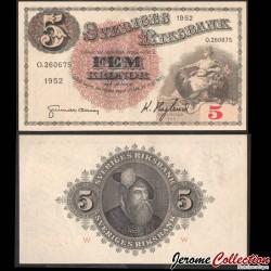 SUEDE - Billet de 5 Kronor - Svea / Roi Gustav Vasa - W- 1952 P33ai23