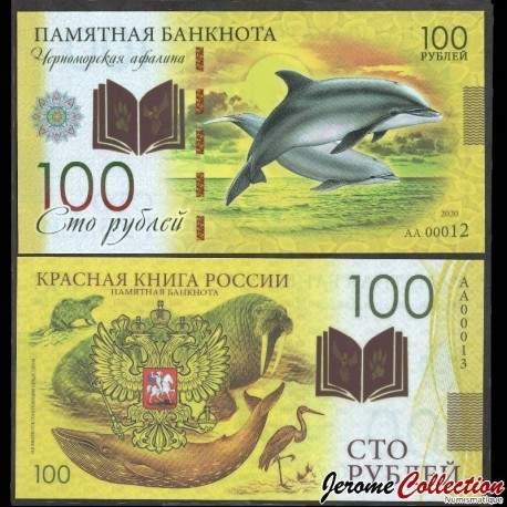 RUSSIE - Billet de 100 Roubles - Livre rouge de Russie - Dauphins - Polymer - 2020 redbook_Dauphin