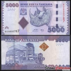TANZANIE - Billet de 5000 Shillings - Rhinocéros - 2015 P43a
