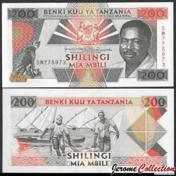 TANZANIE - Billet de 200 Shillings - Président Ali Hassan Mwinyi - 1993 P25b