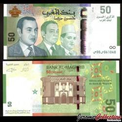 MAROC - Billet de 50 DIRHAMS - Rois Mohammed VI / Mohammed V / Hassan II - 2009 P72a