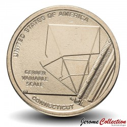 ETATS UNIS / USA - PIECE de 1 Dollar - Industrie et l'innovation - Echelle variable Gerber - Connecticut - D - 2020 Km#new