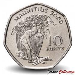 MAURICE - PIECE de 10 Roupies - Récolte de la canne à sucre - 2000 Km#61