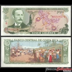 COSTA RICA - Billet de 5 Colones - Orchidée - 1992