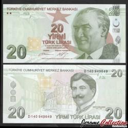 TURQUIE - Billet de 20 Livre Turque - Mimar Kemaleddin - 2012 P224b