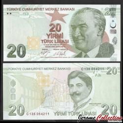 TURQUIE - Billet de 20 Livre Turque - Mimar Kemaleddin - 2019 P224c