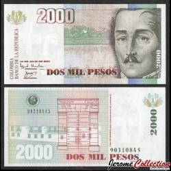 COLOMBIE - Billet de 2000 Pesos - Général Santander - 2001 P451b