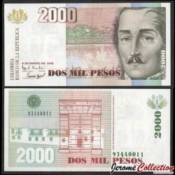 COLOMBIE - Billet de 2000 Pesos - Général Santander - 1998 P445c