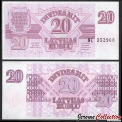LETTONIE - Billet de 20 Latvijas Rublis (Roubles letton) - 1992 P39a