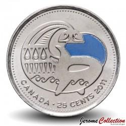 CANADA - PIECE de 25 Cents - Nature légendaire au Canada - Faucon pèlerin - Orque - Colorée - 2011 Km#1170a