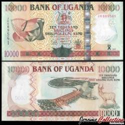OUGANDA - Billet de 10000 Shillings - Barrage / Grand koudou - 2009 P45c