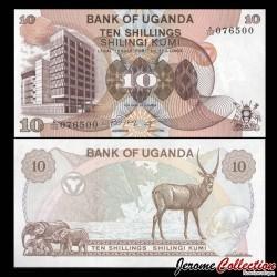 OUGANDA - Billet de 10 Shillings - Eléphants, antilope et hippopotame - 1982 P11b