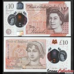 ROYAUME UNI - Billet de 10 Pounds - Jane Austen - Polymer - 2016 P395