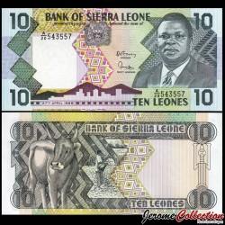SIERRA LEONE - Billet de 10 Leones - Président Dr. Joseph Sildu Momoh - 1988 P15a