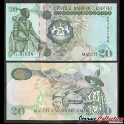 LESOTHO - Billet de 20 Maloti - Roi Moshoeshoe I - 2007 P16f
